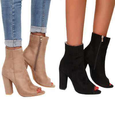 NEW Women Mid High Block Heel Peep Toe Ladies Chunky Ankle Boots Party Shoe Size