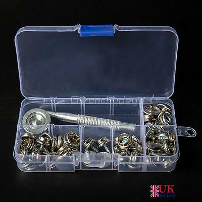 62pcs 15mm Snap Fastener Stainless Steel Canvas to Screw Press Stud Boat Cover