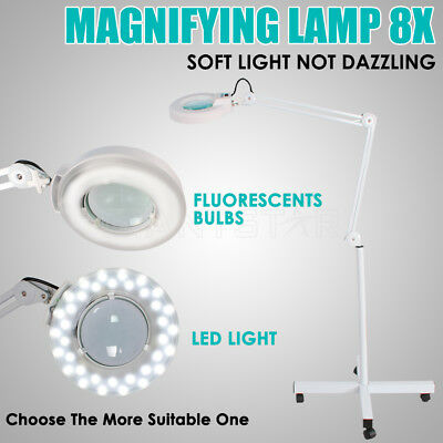 Magnifying Lamp Glass Lens 36 LEDS/T5 Fluorescents Bulbs Magnifier Lights 8X AU