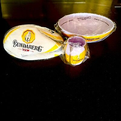Bundaberg Rum Collectable Stubby Cooler, Steeden Football And Bowl- Matching Set