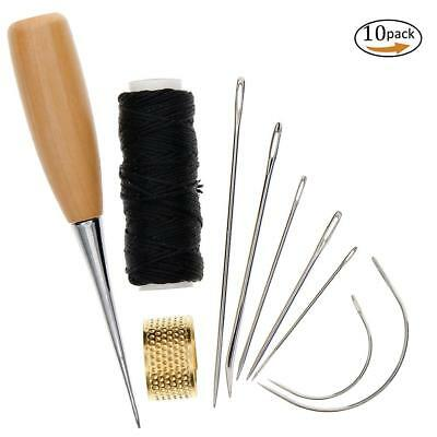 7Pcs Sewing Needles with Leather Waxed Thread Cord Drilling Awl and Thimble LS