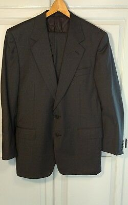 Canali Men's Two Piece Suit Gray Gingham Check  100% Wool 42R US 48R EU