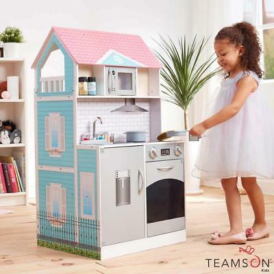 3 Storeys Posh Girls Kids WOODEN 2 In 1 Kitchen Toy Dollhouse With Accessories