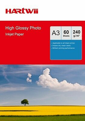 60 Sheets A3 230 240 Gsm High Glossy Photo Paper Inkjet Paper Printer Hartwii UK