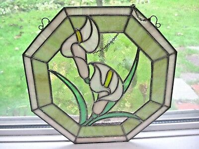 """Vintage 12"""" Stained Glass Calla Lily Signed S. Ducette Octagonal Window Hang"""