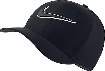 Nike Golf classic 99 Swoosh Baseball Cap White SIZE Medium / Large Black 868378
