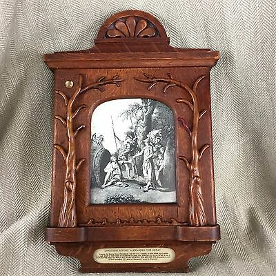 Antique Victorian Picture Frame Carved Oak & Alexander The Great Engraving