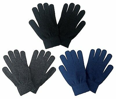 Mens Thin Light Coloured Warm Knit Thermal Liner Cold Weather Winter Wool Gloves