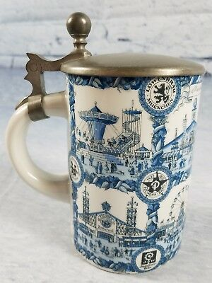 Lowenbrau Muenchen Lidded Beer Stein Pottery Made in Western Germany RARE Mug