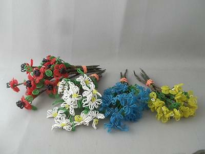 Antique Vtg Big Lot French Hand Made Beaded Glass Seed Bead Flower Bouquet Stems