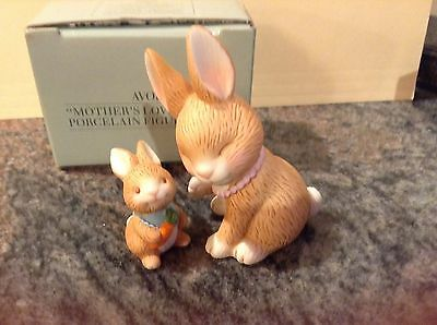 1990 Avon Mother's Love Bunny Porcelain Figurine Set MINT IN BOX