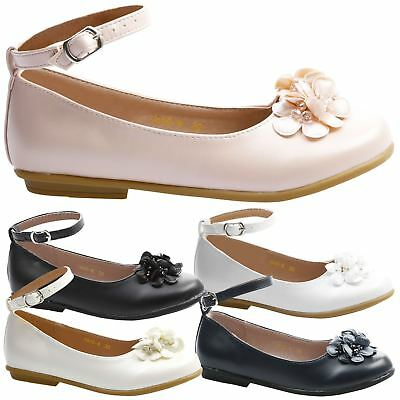 Nellie Girls Kids Flats Low Heels Ballerina Pumps Dolly Shoes Floral Ankle Strap