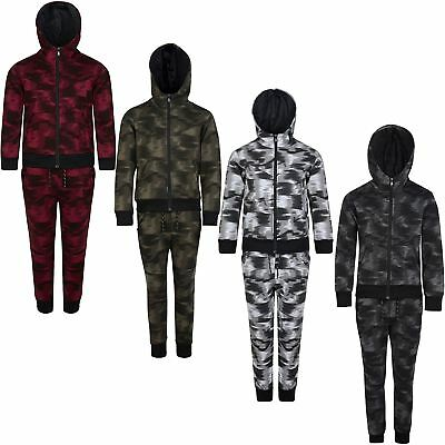 Kids Tracksuit Camouflage Fade Print Hooded Top Jogging Bottoms Sizes 3-14 Years