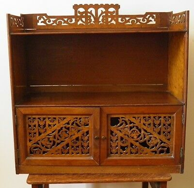 Antique Victorian Mahogany Walnut Fretwork Wall Cabinet for Restoration