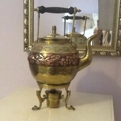 Antique brass and copper kettle with brass burner and great craft design