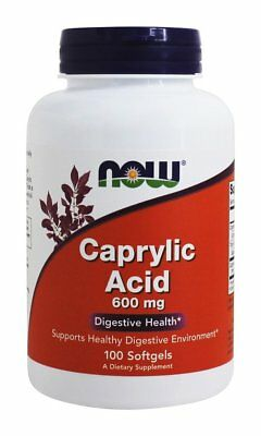 Caprylic Acid 600mg x 100 Softgels, 24hr dispatch, Now Foods,  Intestinal Health