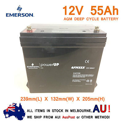 Emerson 12V 55AH AGM Deep Cycle Battery Golf Buggy Wheel Chair UPS Battery Used