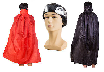 Halloween Costume Dracula Vampire Cape Red Black Cloak & Wig Adult Fancy Dress