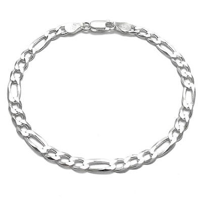 925 Sterling Silver Figaro Bracelet 150 Gauge 6 mm - Made in Italy