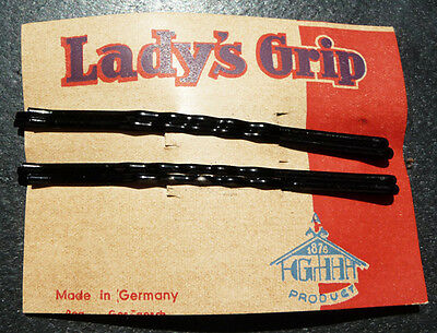 4 Very Long -9cm -Black 1920s LADY'S GRIP Hair Pins Made in Germany