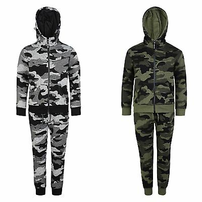 Kids Tracksuit Pixel Camo Print Fleece Hooded Top Jogging Bottoms Sizes 3-14 Y