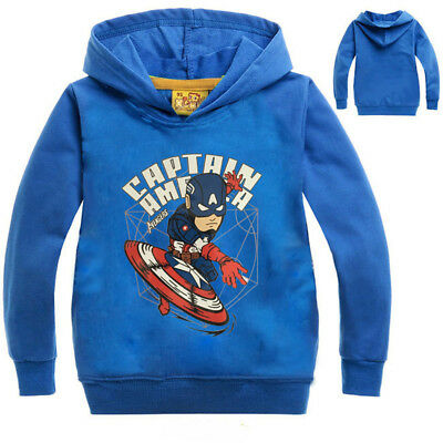 US STOCK ! Captain American Pull Over Hoodie Sweater Sweatshirt Toddler Boys O12