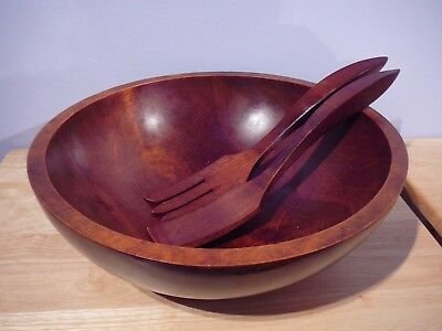 "Vintage Baribocraft Canada 13.5"" Wood Salad Bowl & Salad Servers"