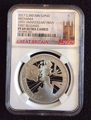 2017 Great Britain 2£ Proof one oz. Silver 20th ANNIV Privy Coin - PF69UC FR