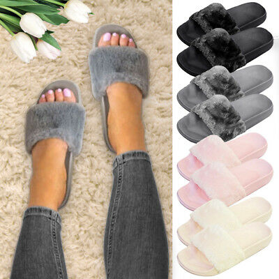 Celebrity Style Ladies Slip On Fluffy Faux Fur Flat Slippers Sliders Flip Flops