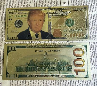 President Donald Trump .999 24k Gold Plated $100 Dollar Bill