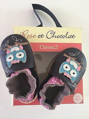 Chaussons Bebe Rose Et Chocolat 0-6 Mois