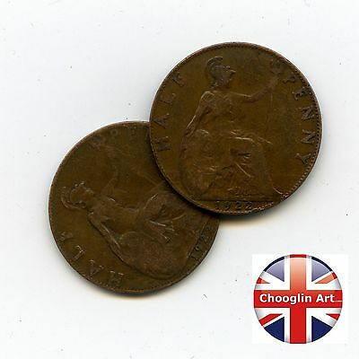 A pair of 1922 British Bronze GEORGE V HALFPENNY Coins
