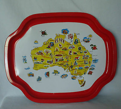 VINTAGE Australiana *Red & White Enamel Metal Tray *Map of Australia & Icons