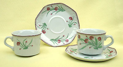 Pretty Cottage Style Santa Clara Spain Cup & Saucer Duos x 2 *Pink &Green Floral
