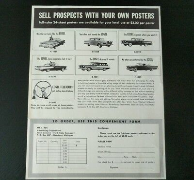 Ford EDSEL Advertising Poster Order Form