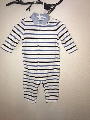 janie and jack 3-6 months boy Blue and white One Piece Stripe Outfit