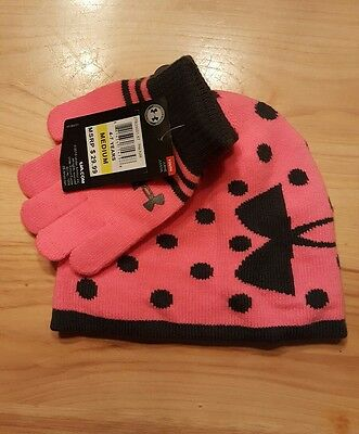 Under Armour Youth Girls Size M (4-7years) Pink Punk Knit Hat and Glove Set NWT