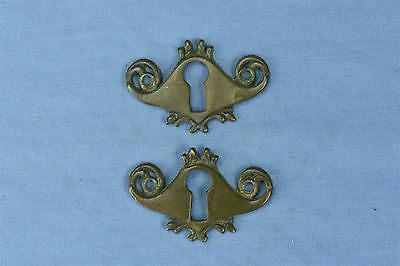 Antique SET of 2 VICTORIAN CAST BRASS KEY HOLE COVERS ESCUTCHEON HARDWARE #03756