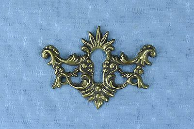 Antique FANCY VICTORIAN CAST BRASS KEY HOLE COVER ESCUTCHEON HARDWARE OLD #03734