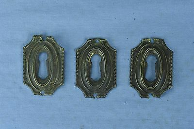 Antique SET 3 PICTURE FRAME STYLE BRASS KEY HOLE COVER ESCUTCHEON HARDWARE 03784