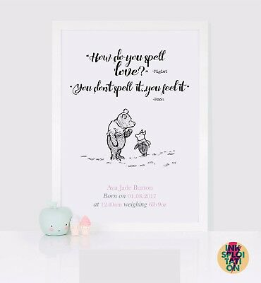 Personalised Winnie the Pooh Baby Print *New Baby Birth Nursery Christening Gift