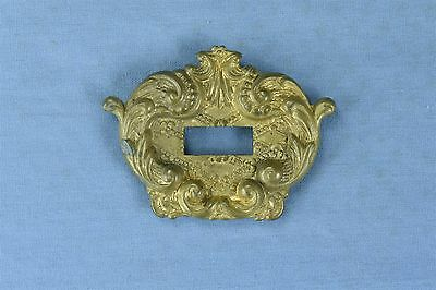 Antique FANCY VICTORIAN PRESSED BRASS KEY HOLE COVER ESCUTCHEON HARDWARE #03768