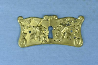 Antique FANCY VICTORIAN PRESSED BRASS KEY HOLE COVER ESCUTCHEON HARDWARE #03769