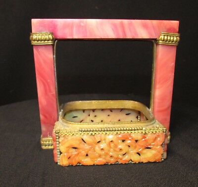 Austrian Brass Frame With Pink Jade, Malachite Inserts
