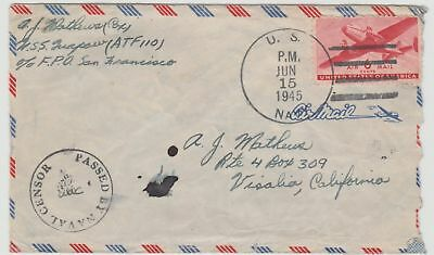 Mayfairstamps USS ATF110 USS Quapaw June 15 1945 commercial Naval cover to Calif
