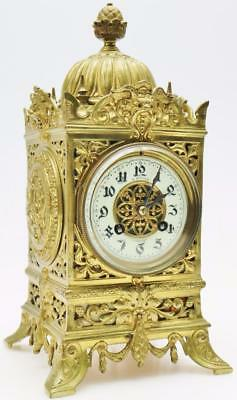 Antique French Cubed 8 Day Bronze Figural Clock Original Large Mantel Clock