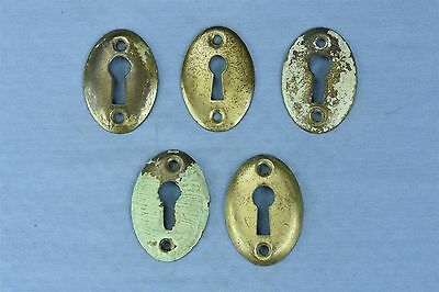 Antique SET 4 VICTORIAN PRESSED BRASS KEY HOLE COVER ESCUTCHEON HARDWARE #03789