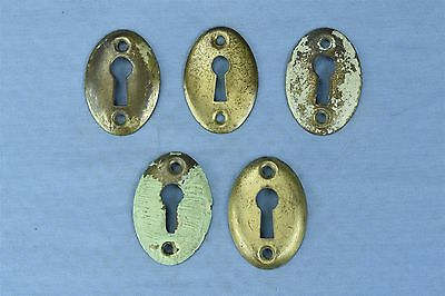 Antique SET 5 VICTORIAN PRESSED BRASS KEY HOLE COVER ESCUTCHEON HARDWARE #03789