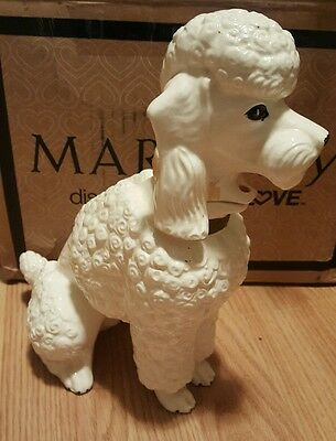 """Vtg Still Piggy Bank 9 3/4"""" Tall Figural Doggy Puppy Poodle Marston Copr Calif"""