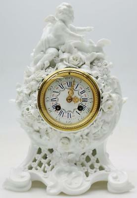 Antique French 8 Day Sevres Porcelain Small Mantel Clock Floral Decoration Clock